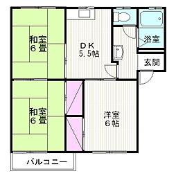 タウニー山田 D[202号室]の間取り