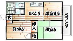 福岡県北九州市若松区小石本村町の賃貸アパートの間取り