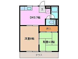 コーポ平田[1階]の間取り