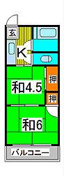 新藤コーポ[22号室]の間取り