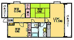 パラドール篠栗[4階]の間取り