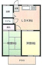 神奈川県座間市入谷4丁目の賃貸アパートの間取り