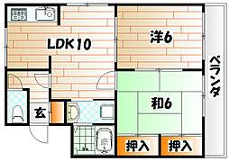 レイズ友田B棟[3階]の間取り