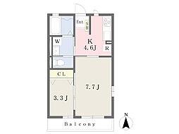 モンテ・クアント 宮の内 1階2Kの間取り