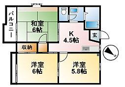 千葉県東金市東金の賃貸アパートの間取り