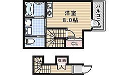 近鉄南大阪線 矢田駅 徒歩15分の賃貸アパート 1階ワンルームの間取り