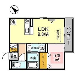兵庫県姫路市勝原区熊見の賃貸アパートの間取り