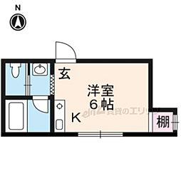 天使EiGHT RooM 1階1Kの間取り