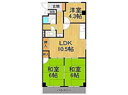 甲子園ハニーマンション[3階]の間取り