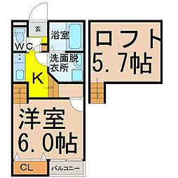 愛知県名古屋市西区則武新町2丁目の賃貸アパートの間取り