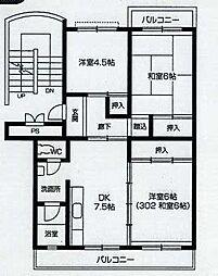 東京都羽村市小作台5丁目の賃貸マンションの間取り
