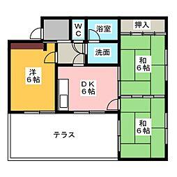 クレ−ル片町[1階]の間取り