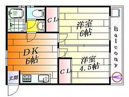 コージーコート千里丘[2階]の間取り