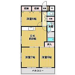 ベルメゾン東戸塚[301号室]の間取り
