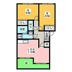 パティオガーデン A棟[1階]の間取り