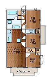 LANAI HILLSIDE 1188[3階]の間取り