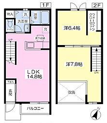 リバーフロントハウス 1階2LDKの間取り