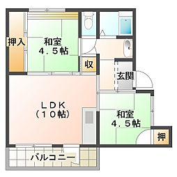 兵庫県神戸市垂水区神陵台6丁目の賃貸マンションの間取り