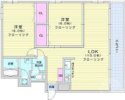 グランドハイツ仙台 7階2LDKの間取り