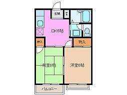 三重県桑名市野田1丁目の賃貸アパートの間取り