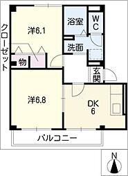 ハラマキハイツC棟[1階]の間取り