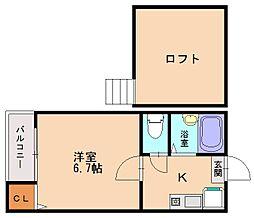 福岡県福岡市南区平和1丁目の賃貸アパートの間取り