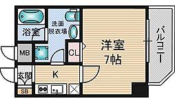クレアートアドバンス北大阪 11階1Kの間取り