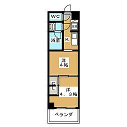 グランド・ガーラ東大島 9階2Kの間取り
