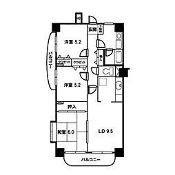 ロイヤルハイツ朝霞台[603号室]の間取り