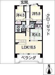 宝マンション東起第2[6階]の間取り