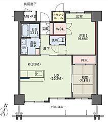 福岡県福岡市中央区小笹4丁目の賃貸マンションの間取り