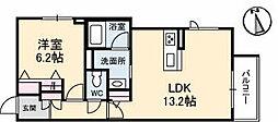 高松琴平電気鉄道長尾線 林道駅 徒歩1分の賃貸マンション 1階1LDKの間取り