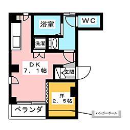 スカイレジテンス菊川 5階1DKの間取り