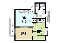 メゾン上杉II 1階2DKの間取り