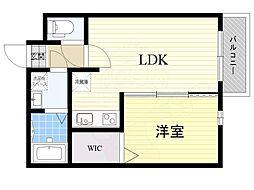 アレグリア姫島 3階1LDKの間取り