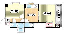 兵庫県神戸市灘区大石東町2丁目の賃貸マンションの間取り