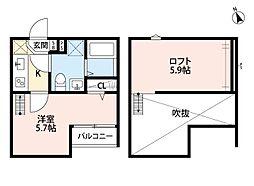 JR東北本線 東大宮駅 徒歩6分の賃貸アパート 2階1Kの間取り