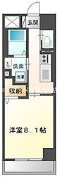 JR宇野線 大元駅 徒歩14分の賃貸マンション 4階1Kの間取り