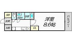 PHOENIX新大阪 15階1Kの間取り