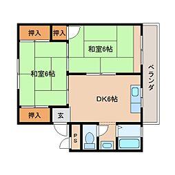 近鉄天理線 天理駅 徒歩8分の賃貸マンション 3階2DKの間取り