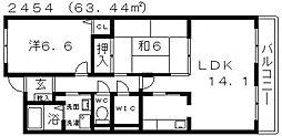 近鉄南大阪線 恵我ノ荘駅 徒歩8分の賃貸マンション 1階2LDKの間取り