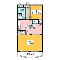 カーサフクシマA棟[4階]の間取り