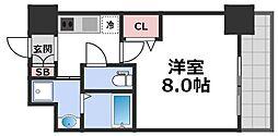 レジュールアッシュ天王寺舟橋 2階1Kの間取り
