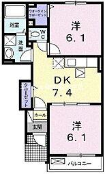 岡山県倉敷市玉島黒崎新町の賃貸アパートの間取り