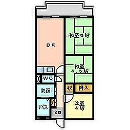 兵庫県尼崎市三反田町2丁目の賃貸マンションの間取り