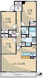 東京メトロ副都心線 雑司が谷駅 徒歩8分の賃貸マンション 9階3LDKの間取り