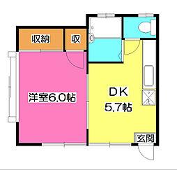 コーポヒル所沢2号館[1階]の間取り