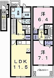 兵庫県姫路市花田町小川の賃貸アパートの間取り