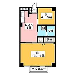 中央町プラザ[6階]の間取り