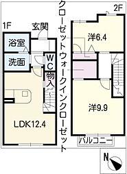 [タウンハウス] 三重県桑名市新西方5丁目 の賃貸【三重県 / 桑名市】の間取り